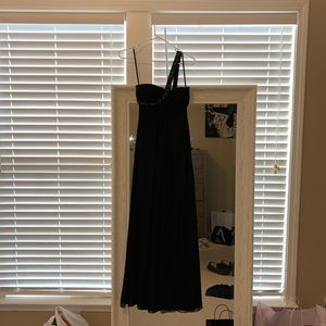 One shoulder black prom dress with beading